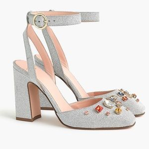 NWT JCrew Harlow Ankle Strap Pumps Glitter